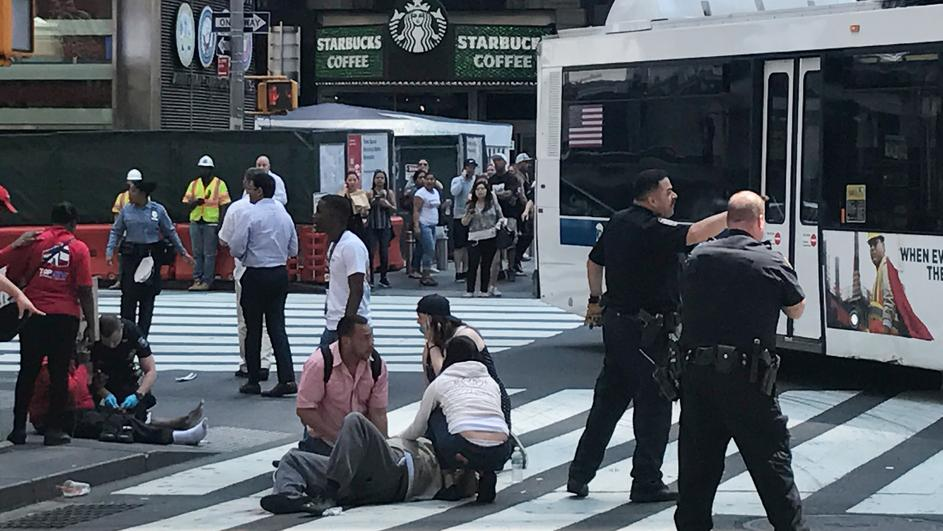 A vehicle that drove up on the sidewalk on Broadway & 43rd is seen in Times Square in New York