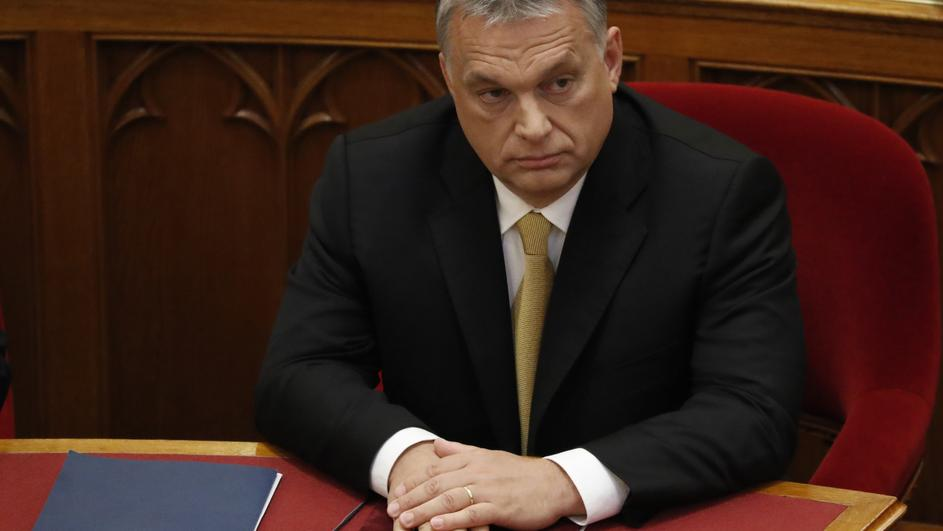 Hungarian Prime Minister Orban looks on before taking the oath of office in Parliament in Budapest