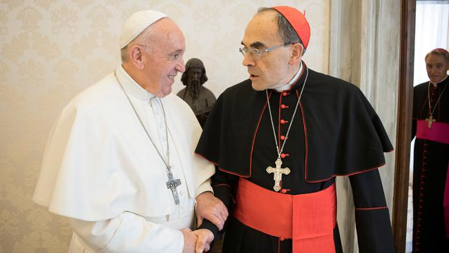 Pope Francis receives Cardinal Philippe Barbarin, Archbishop of Lyon, at the Vatican
