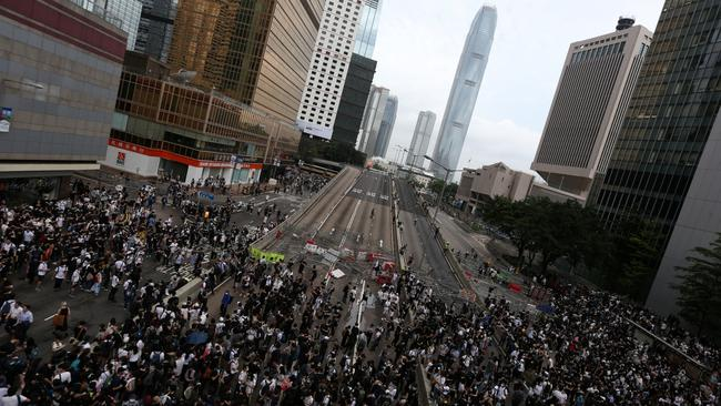 Protesters demonstrate against a proposed extradition bill in Hong Kong