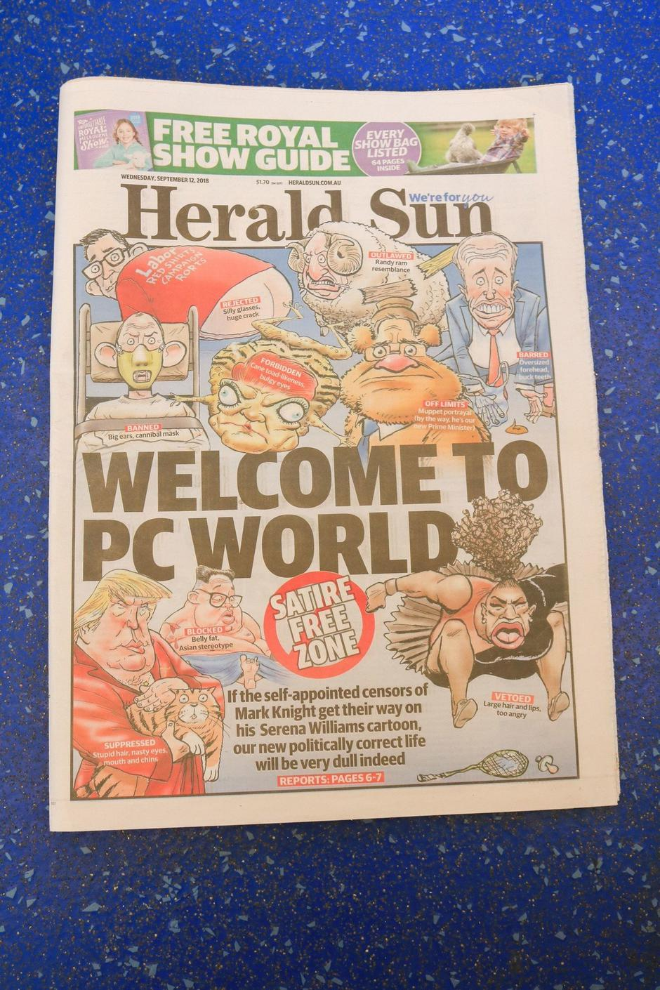 Herald Sun Responds to Serena Williams Cartoon, Adelaide, Australia - 12 Sep 2018 | Autor: Profimedia