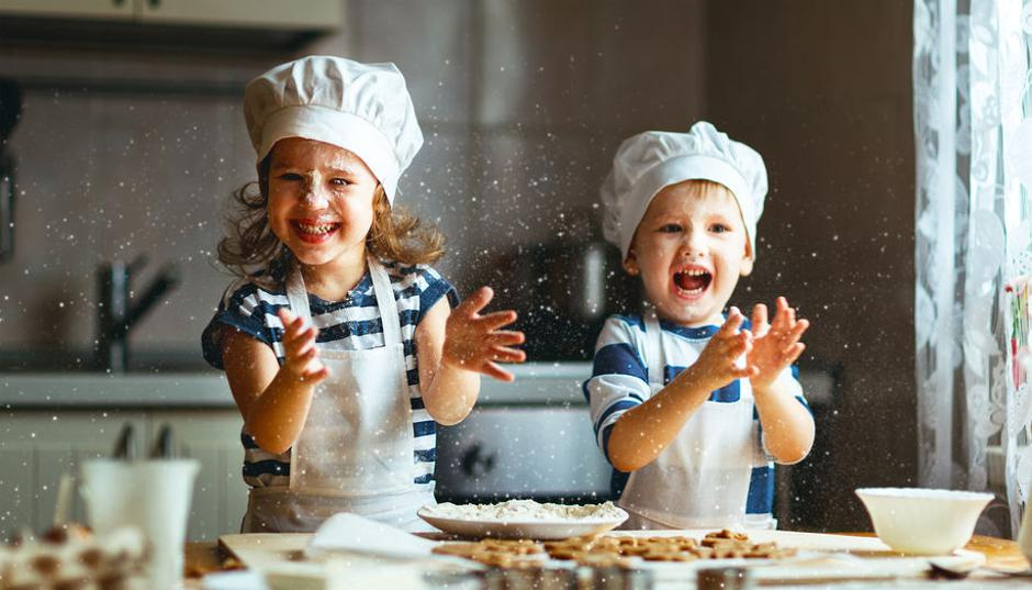 happy family funny kids bake cookies in kitchen | Autor: Evgeny Atamanenko