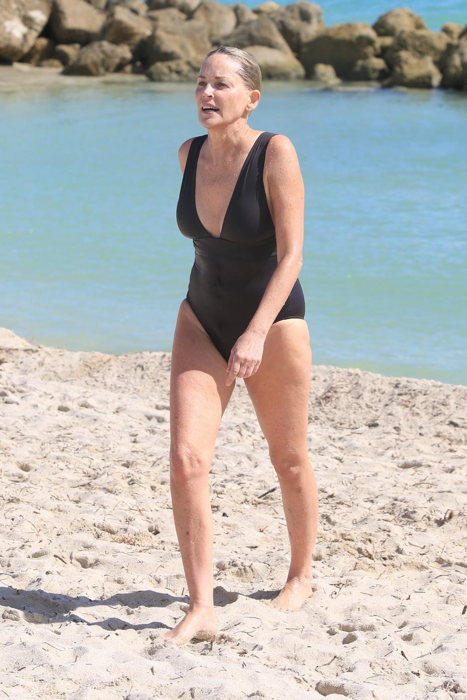 Sharon Stone's got bathing instinct as she braves the autumn cold for a dip | Autor: SBCH