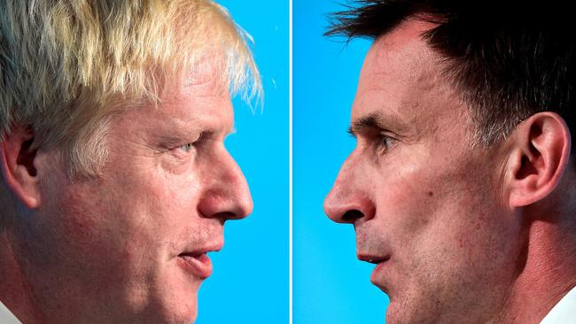 FILE PHOTO: A combination pictures shows Boris Johnson and Jeremy Hunt, leadership candidates for Britain's Conservative Party, attending a hustings event in Cardiff