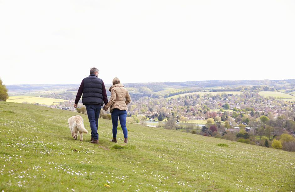Rear View Of Mature Couple Taking Golden Retriever For Walk | Autor: monkeybusinessimages