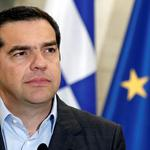 Greek Prime Minister Alexis Tsipras attends joint statements with his Danish counterpart Lars Loekke Rasmussen after their meeting at the Maximos Mansion in Athens