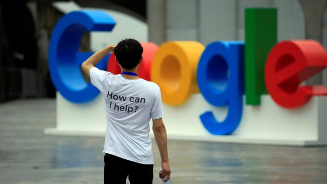 A Google sign is seen during the WAIC (World Artificial Intelligence Conference) in Shanghai