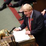 Britain's Prime Minister Boris Johnson speaks during the debate on the early parliamentary election bill at the House of Commons in London