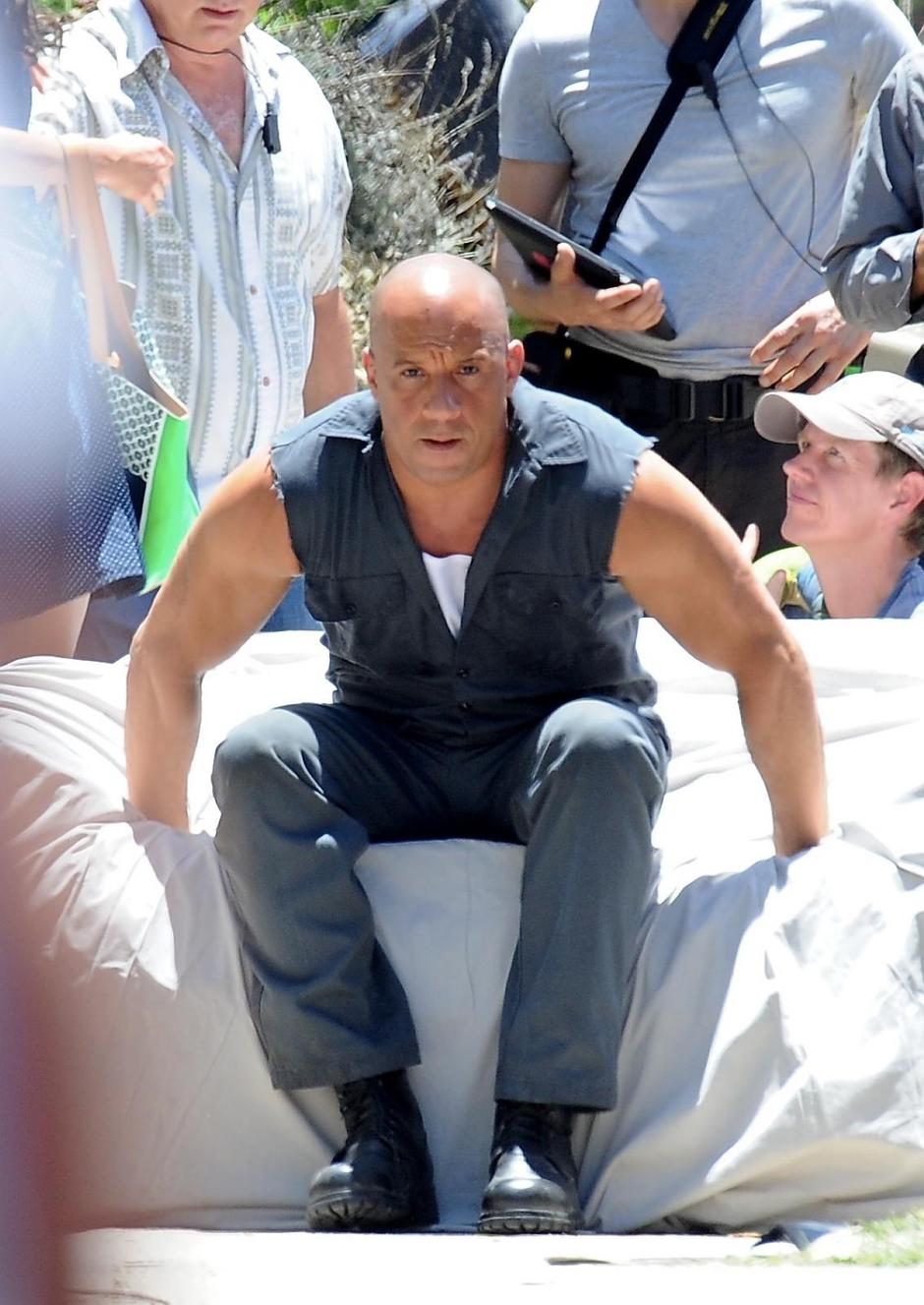 "Vin Diesel is an action hero on the set of ""Fast and Furious 7"" 