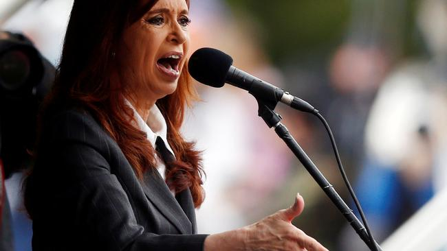 Former Argentine President Fernandez de Kirchner speaks during a rally outside the Federal Justice building where she attended court in Buenos Aires