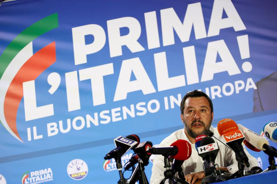 Italian Deputy Prime Minister and leader of far-right League party Matteo Salvini speaks during his European Parliament election night event in Milan | Autor: ALESSANDRO GAROFALO/REUTERS/PIXSELL/REUTERS/PIXSELL