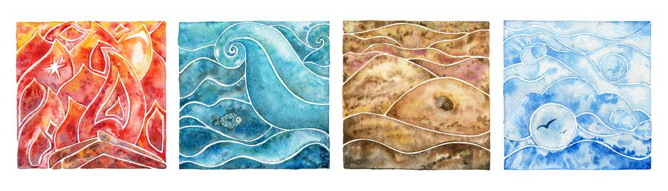 Four natural elements: fire, water, air and earth. Watercolor il | Autor: Dreamstime