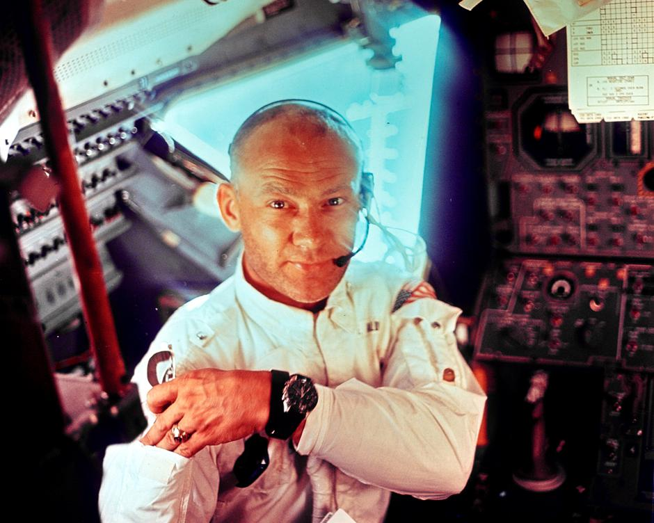 "FILE PHOTO: NASA file image shows U.S. astronaut Edwin ""Buzz"" Aldrin on Apollo 11 lunar module 