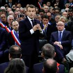 "French President Emmanuel Macron attends a meeting with mayors from rural Normandy as part of the launching of the ""Great National Debate"" in Grand Bourgtheroulde"