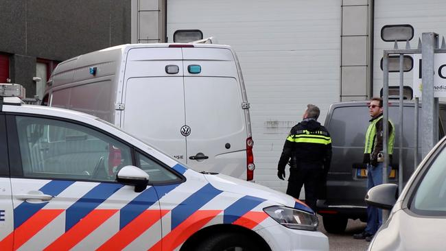 View of an office building where a suspected letter bomb went off in the mail room, in Amsterdam