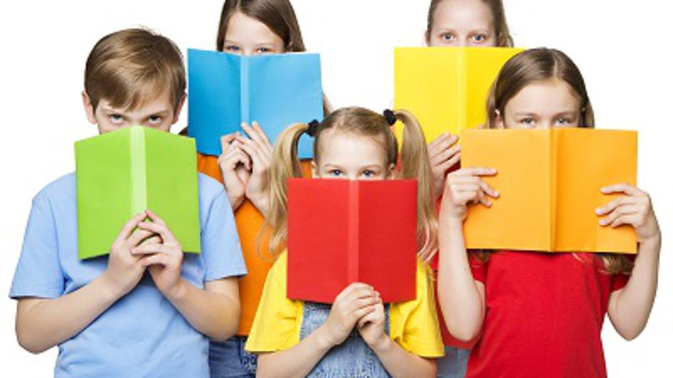 Children Reading Open Books, School Kids Group Eyes behind Blank