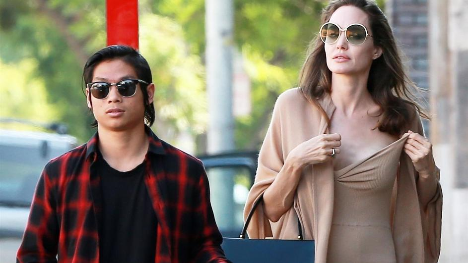 *EXCLUSIVE* Angelina Jolie and her son Pax grab lunch at Perch restaurant in Los Angeles