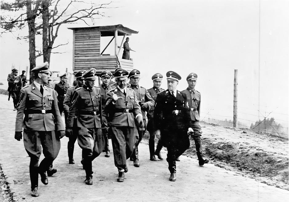 Himmler And other SS officials are visiting the infamous  Mauthausen concentration camp in 1941 
