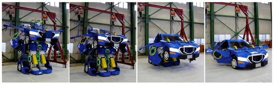 "Combination picture shows a new transforming robot called ""J-deite RIDE"" that transforms itself into a passenger vehicle, developed by Brave Robotics Inc, Asratec Corp and Sansei Technologies Inc, at a factory near Tokyo 