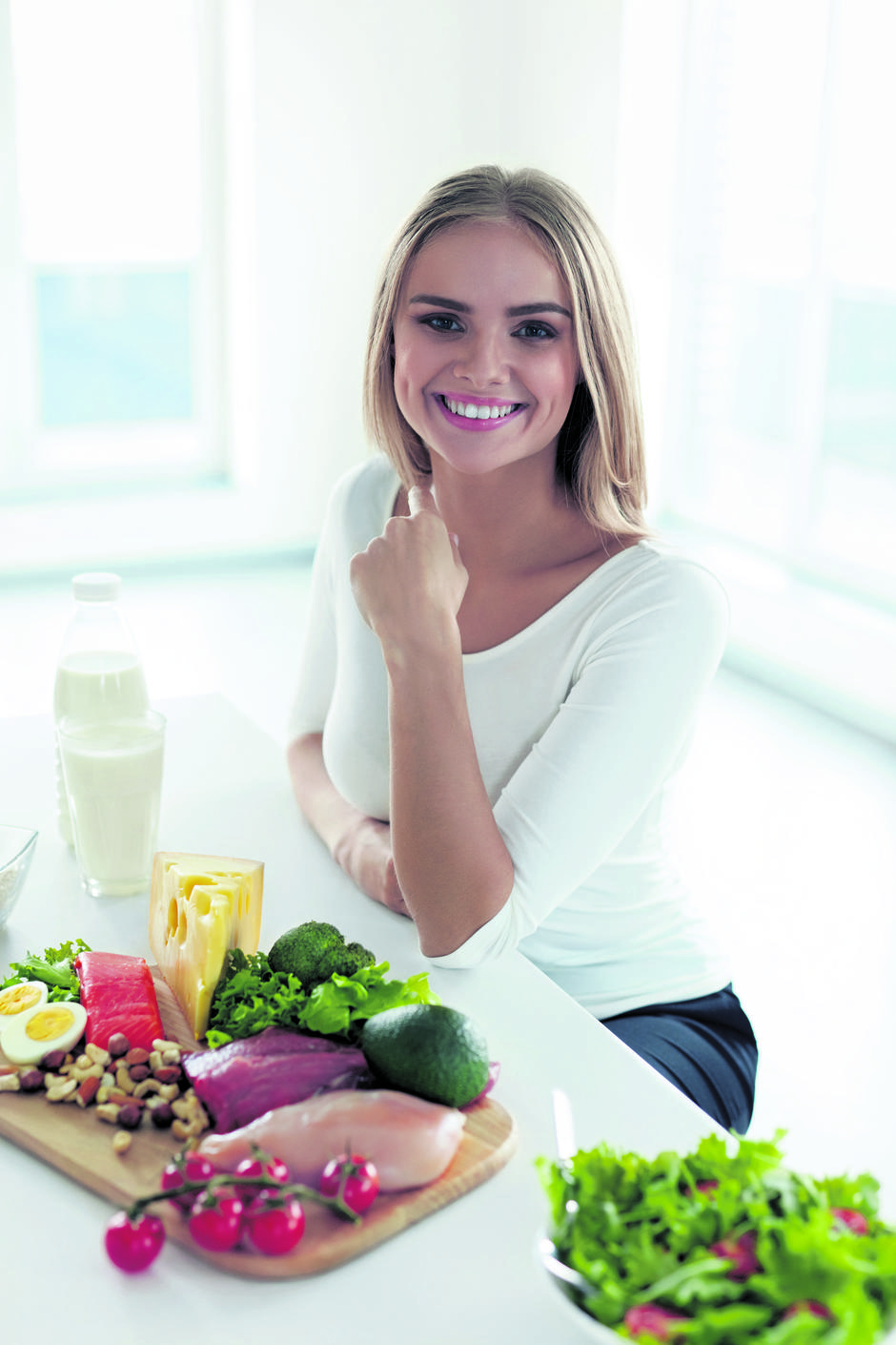 Healthy Food. Beautiful Woman With Food Products On Table | Autor: Ihor Pukhnatyy