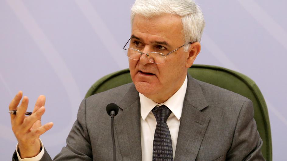 FILE PHOTO: Albanian Interior Minister Fatmir Xhafaj speaks during a news conference in Tirana