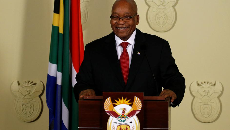 South Africa's President Jacob Zuma smiles as he arrives to speak at the Union Buildings in Pretoria