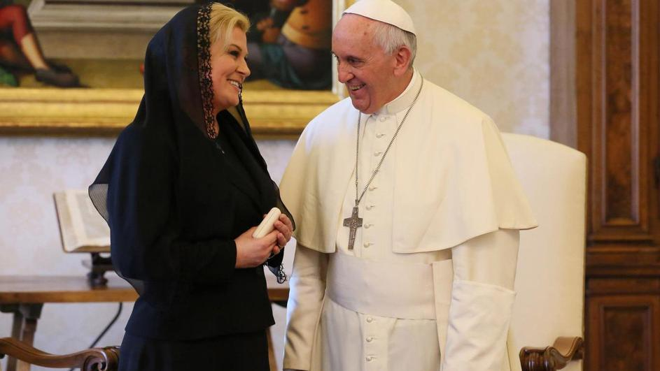 May 28, 2015: Pope Francis meets the President of Croatia Kolinda Grabar-Kitarovic in the Private Library of the Apostolic Palace.