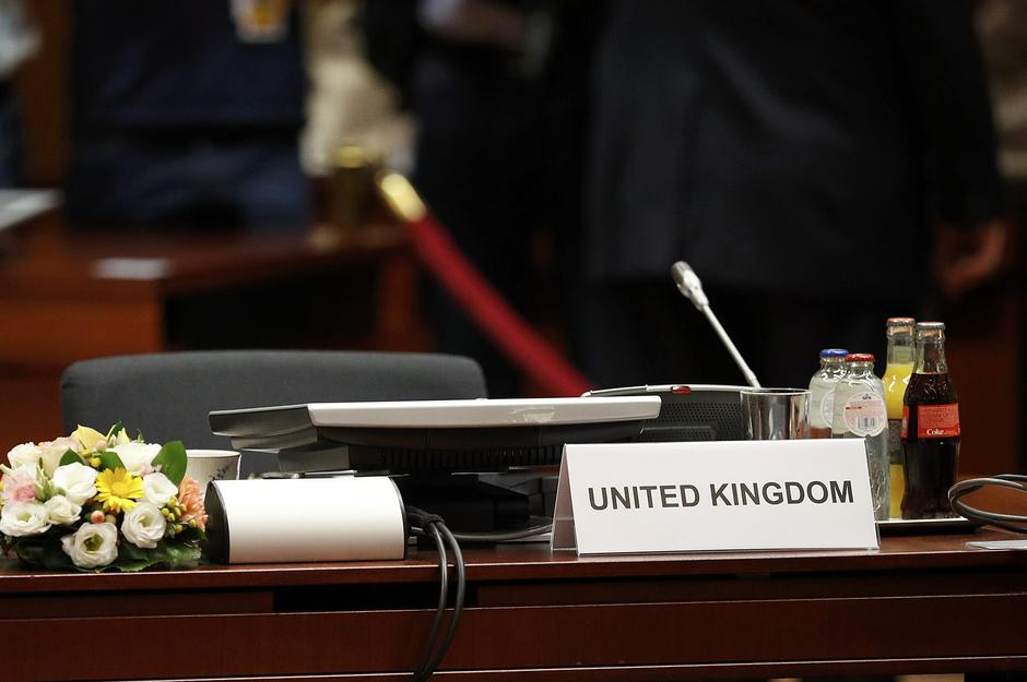 The UK seat at the conference table at the EU Summit in Brussels | Autor: PHIL NOBLE