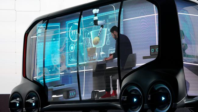 "Toyota Motor Corporation, displays the ""e-Pallete"", a new fully self-driving electric concept vehicle designed to be used for ride hailing, parcel delivery services and other uses at CES in Las Vegas"