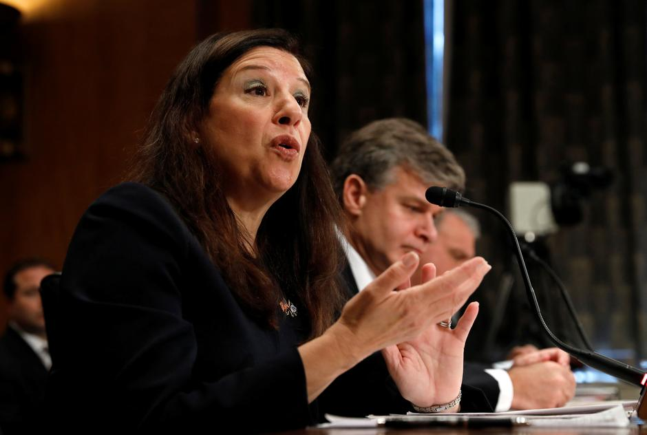 "Elaine Duke testifies at a ""threats to the homeland"" hearing on Capitol Hill in Washington 