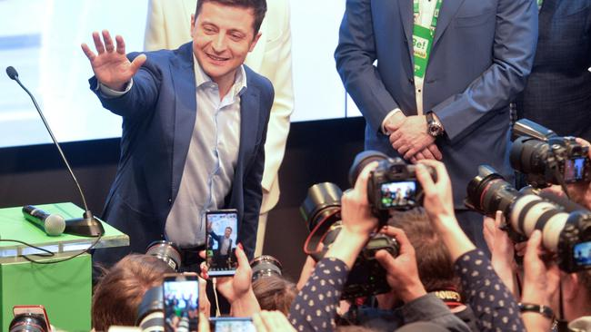 Candidate Zelenskiy reacts following the announcement of an exit poll in Ukraine's presidential election in Kiev