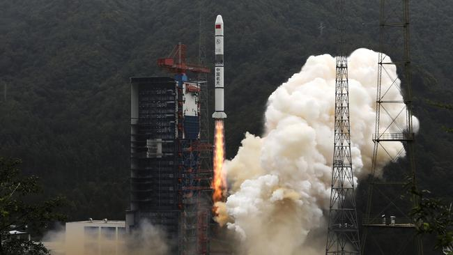 Long March-2C carrier rocket carrying Yaogan-30 satellites lifts off from the Xichang Satellite Launch Center, Sichuan