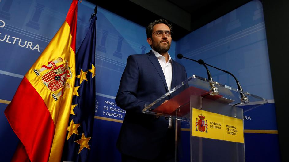 Spain's Culture Minister Maxim Huerta attends a news conference to announce his resignation in Madrid
