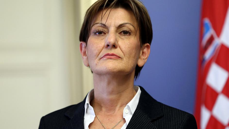 FILE PHOTO: Martina Dalic, Minister of Economy, attends a news conference in a government building in Zagreb