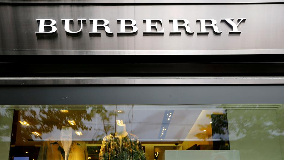 FILE PHOTO: Logo of British luxury brand Burberry is seen at a shop in Zurich