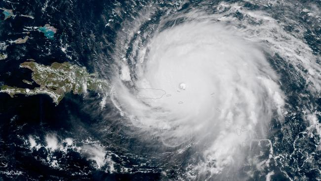 NOAA National Weather Service National Hurricane Center image of Hurricane Irma approaching Puerto Rico