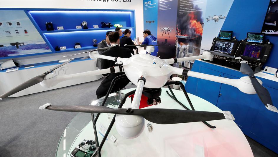 An UAV Drone T60 manufactured by Shenzhen JTT Technology Co. is pictured at the 20th Milipol Paris, the worldwide exhibition dedicated to homeland security, in Villepinte near Paris