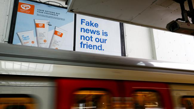 FILE PHOTO: A Facebook billboard advert can be seen at Earls Court underground station in  London