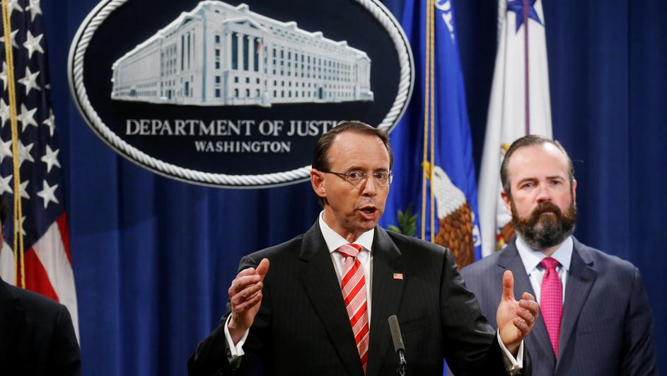 Deputy U.S. Attorney General Rosenstein announces indictments in special counsel Mueller's Russia investigation at the Justice Department in Washington