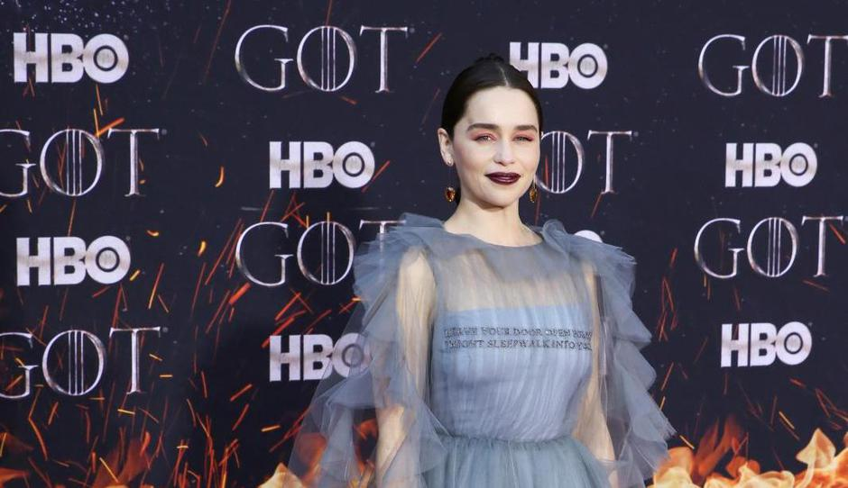 "Emilia Clarke poses at the premiere of the final season of ""Game of Thrones"" at Radio City Music Hall in New York 