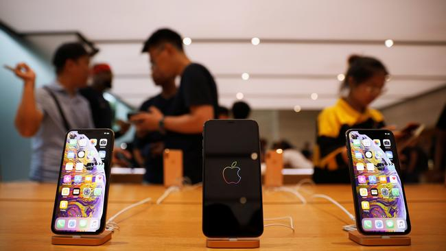 The iPhone XS and iPhone XS Max are displayed at the Apple Store in Singapore