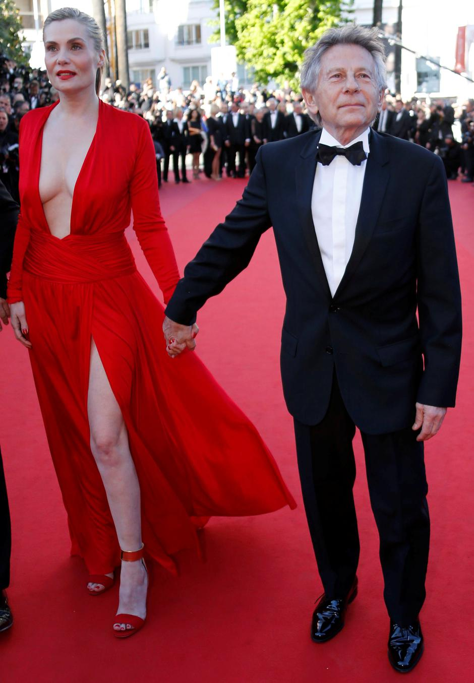 "FILE PHOTO: Director Roman Polanski and his wife and cast member Emmanuelle Seigner arrive for the screening of the film ""La Venus a la Fourrure"" in competition during the 66th Cannes Film Festival 