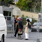Fiancee of Saudi journalist Jamal Khashoggi and her friend wait outside Saudi Arabia's consulate in Istanbul