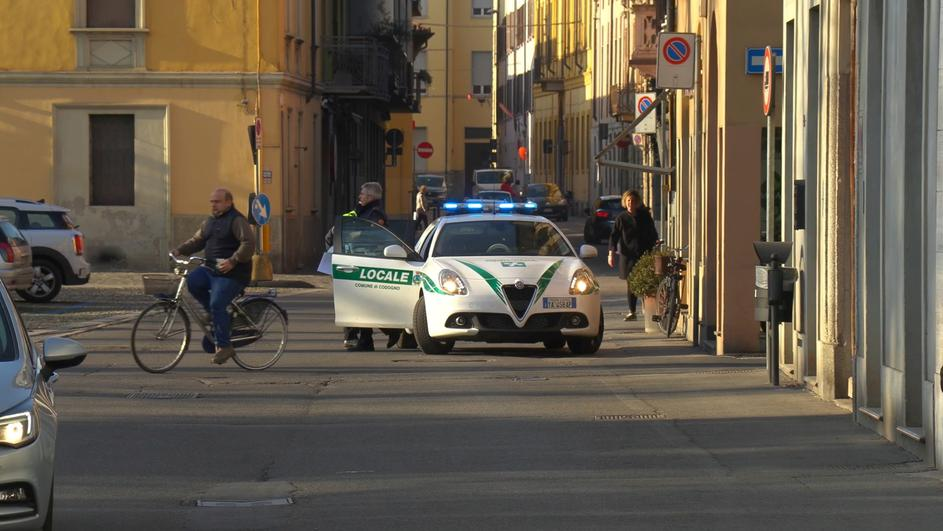 A police car is seen in the village of Codogno after officials told residents to stay home and suspend public activities as 14 cases of coronavirus are confirmed in northern Italy