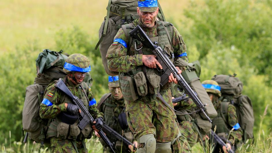 Lithuanian army soldiers take part in Suwalki gap defence exercise in Mikyciai