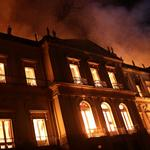A fire burns at the National Museum of Brazil in Rio de Janeiro