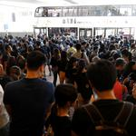 Demonstrators arrive at the Admiralty station of Mass Transit Railway (MTR) to attend a protest in Hong Kong