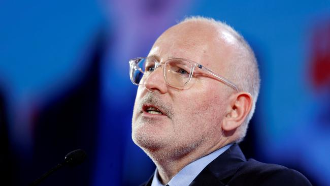 FILE PHOTO: Frans Timmermans, the newly elected Party of European Socialists President, speaks during the Party of European Socialists annual meeting in Lisbon