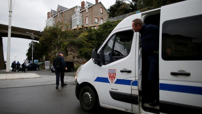 French CRS police patrol before the Foreign ministers of G7 nations meeting in Dinard