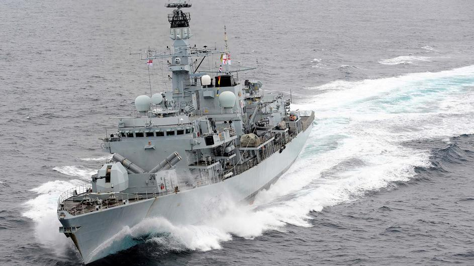 Royal Navy Type 23 frigate HMS Montrose is pictured at speed in the Mediterranean Sea